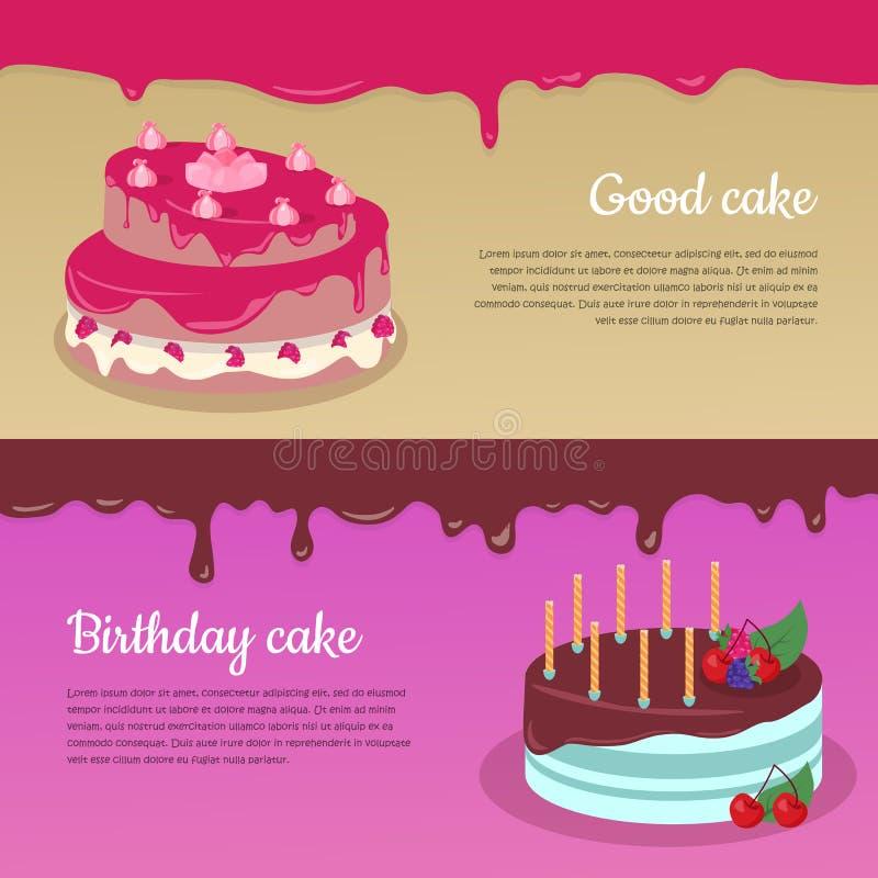 Birthday Cake with Raspberry and Candlesticks Set. Good cake. Birthday cake. Cake with raspberry and candlesticks. Birthday or wedding cake , chocolate dessert vector illustration