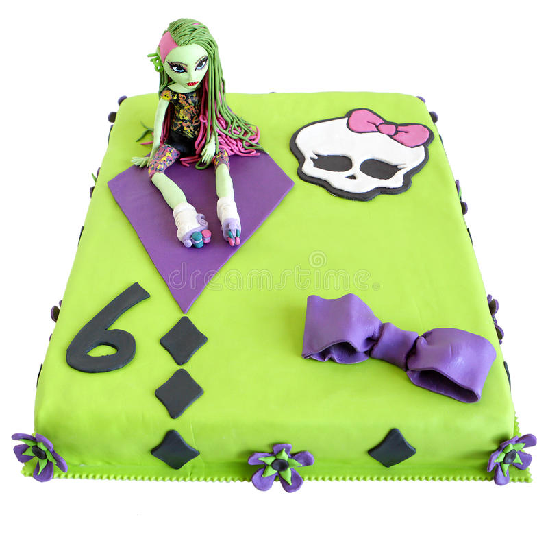 Birthday cake. Self-made birthday cake for a kid, name of child removed ( in zone under skull royalty free stock photos