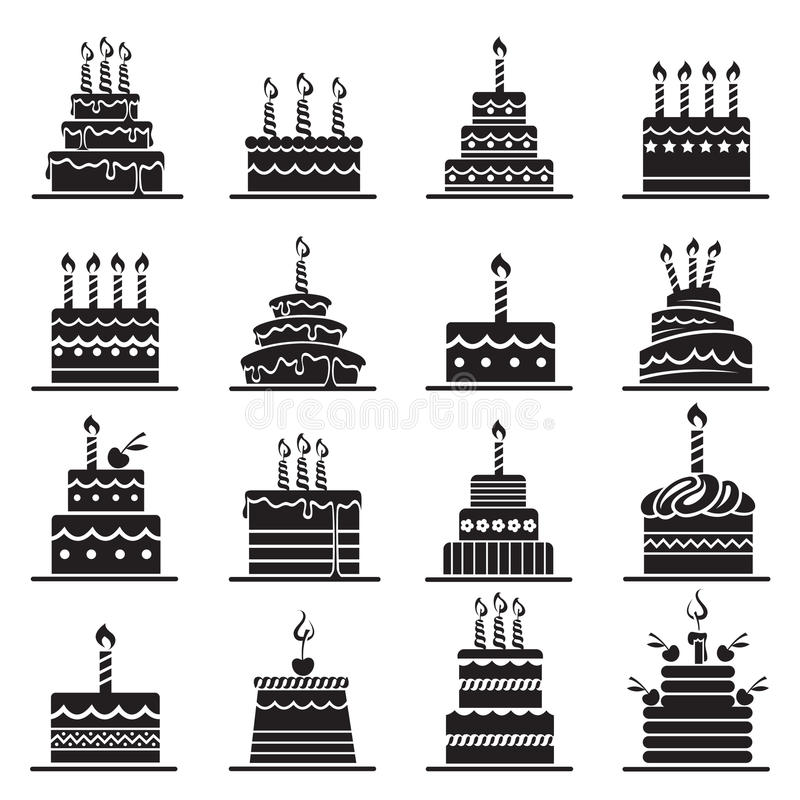 Birthday cake set royalty free illustration