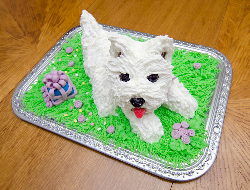 Birthday cake in the shape of white yorkshire terrier. Beautiful birthday cake in the shape of the white yorkshire terrier stock photo