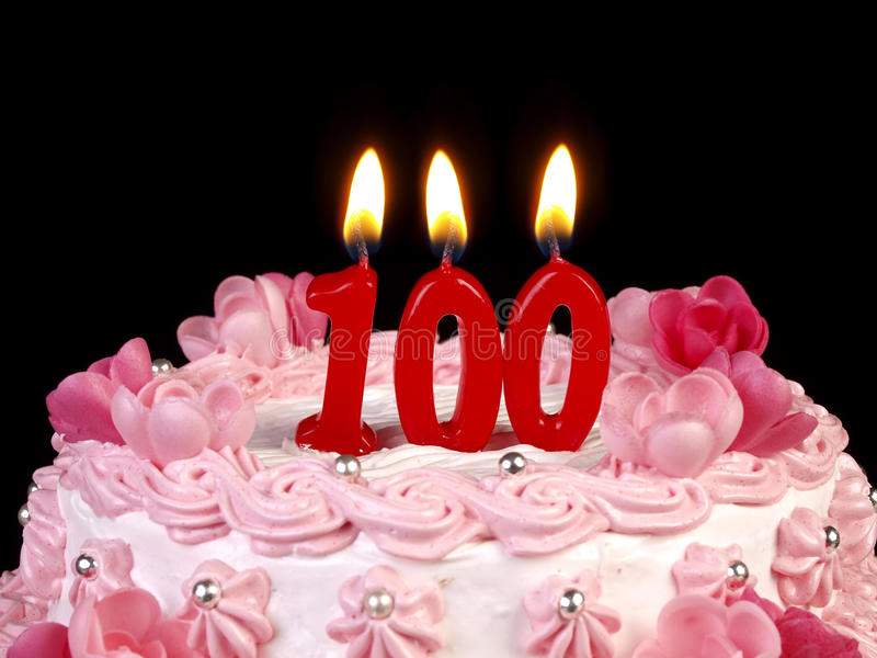Birthday cake showing Nr. 100. Birthday cake with red candles showing Nr. 100 royalty free stock photo
