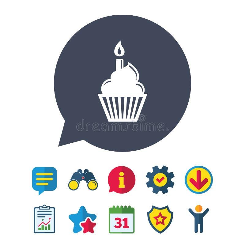 Cool Birthday Cake Sign Icon Burning Candle Symbol Stock Vector Funny Birthday Cards Online Inifodamsfinfo