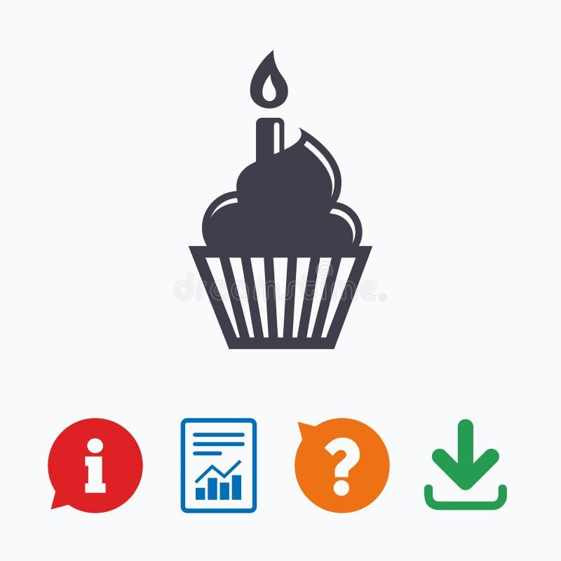 Birthday cake sign icon. Burning candle symbol royalty free illustration