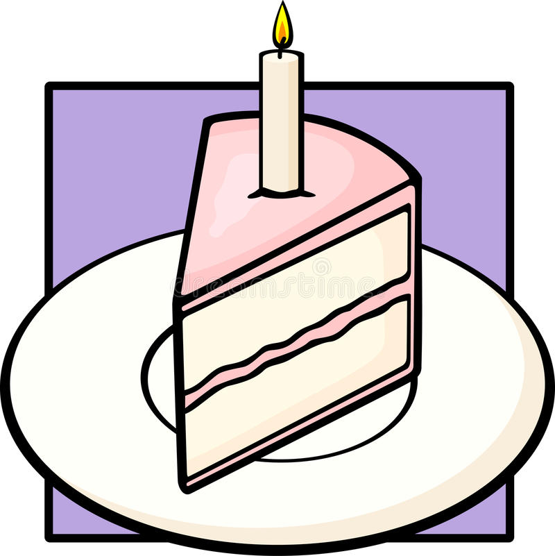 Birthday cake slice in dish with lighted candle royalty free illustration