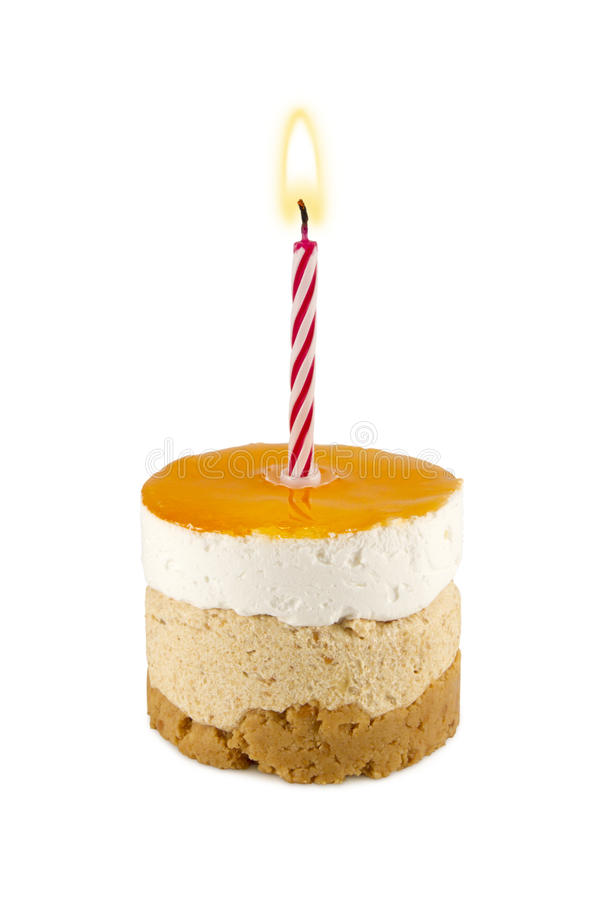Birthday Cake. Small birthday cake with candle royalty free stock photos