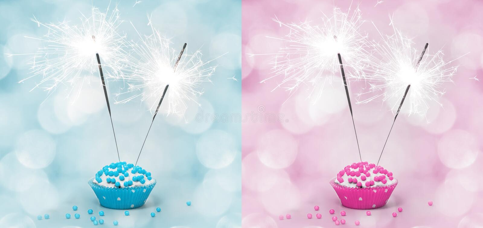 Birthday Cake With Sparkler Stock Photos