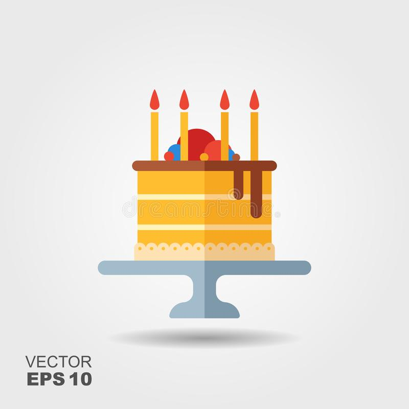 Birthday cake on the stand flat icon with shadow royalty free illustration