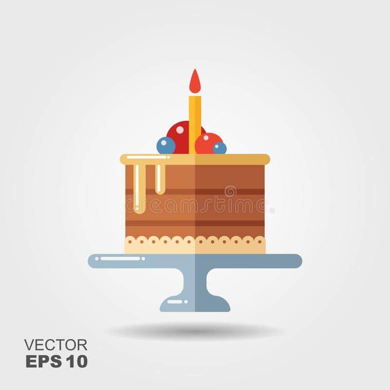 Birthday cake on the stand flat icon with shadow stock illustration