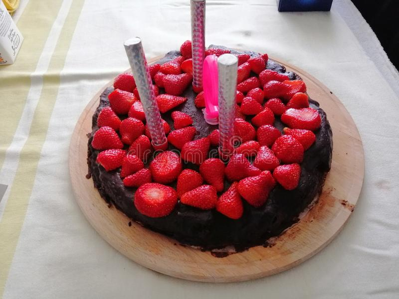 Birthday cake with strawberryes. Picture of birthday cake with strawberryes royalty free stock images