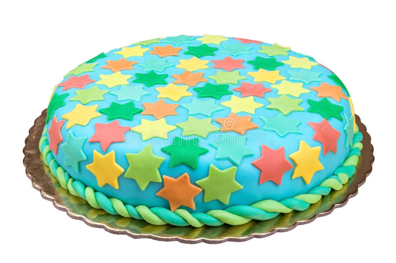 Birthday cake from sugar mass. On a white background stock image