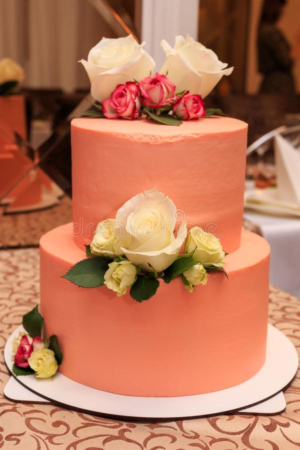 Birthday cake, sweets for the holiday. Confectionery, delicious and beautiful cake stock image