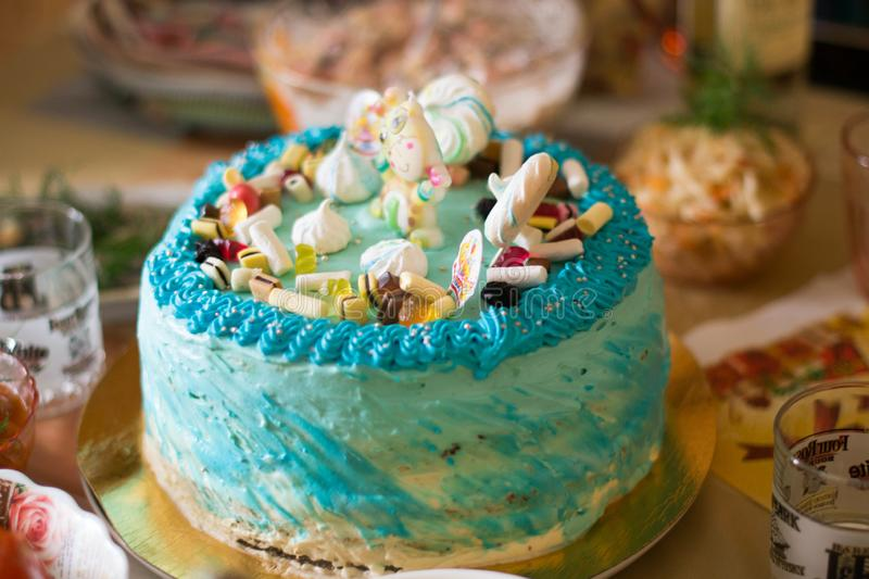 Birthday cake. On the table royalty free stock photo