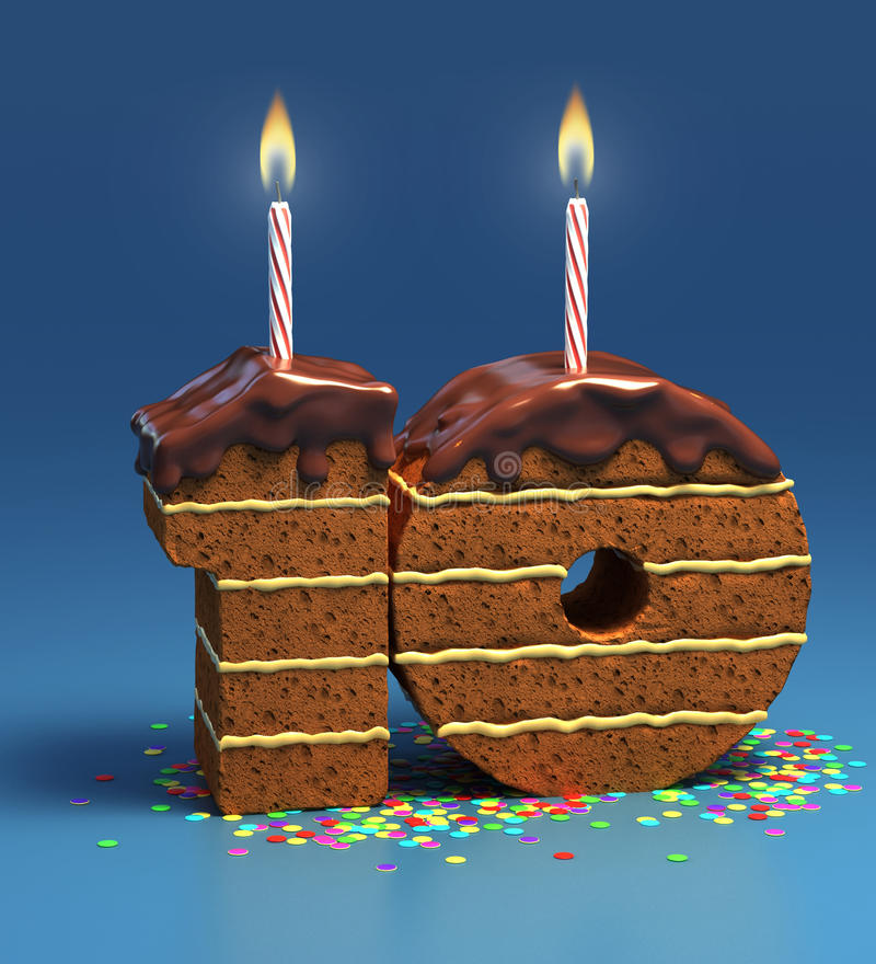Birthday cake for a tenth birthday or anniversary royalty free illustration