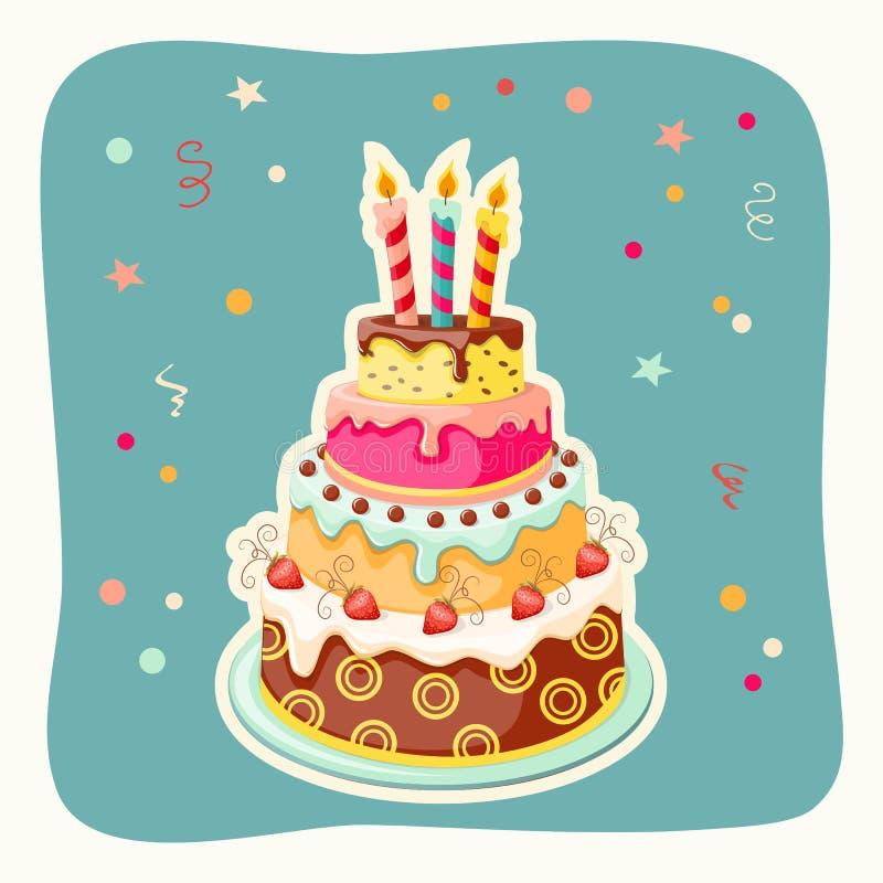 Birthday cake tier, candles, strawberry. Festive colorful card with birthday cake tier, candle and strawberry on the vintage background. eps10 stock illustration