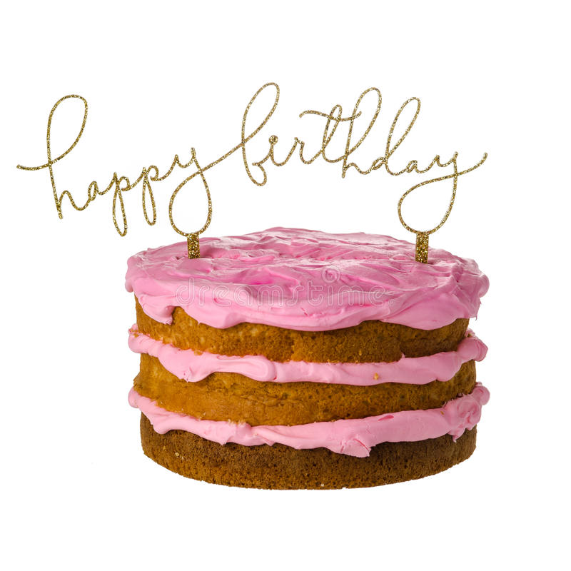 Birthday cake. With topper isolated on white background stock photos