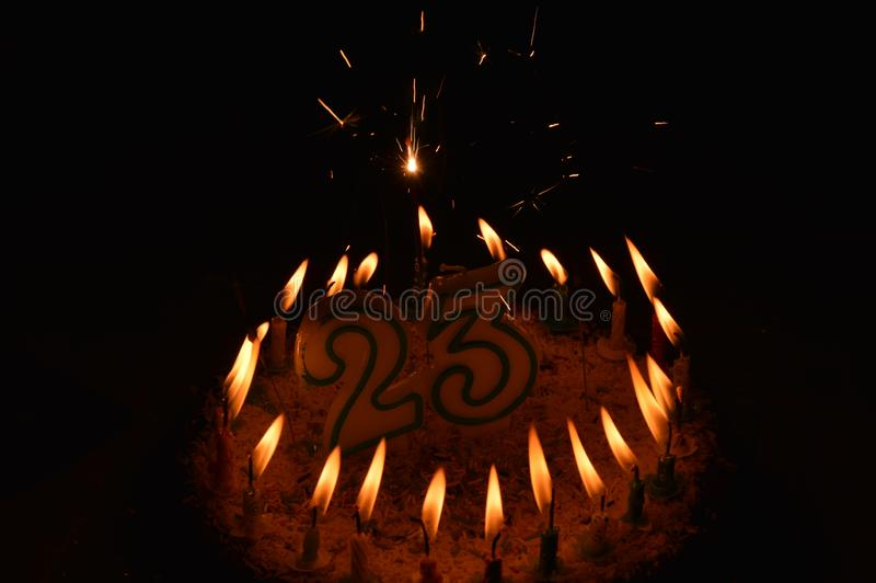 A birthday cake. Twenty three years royalty free stock photo