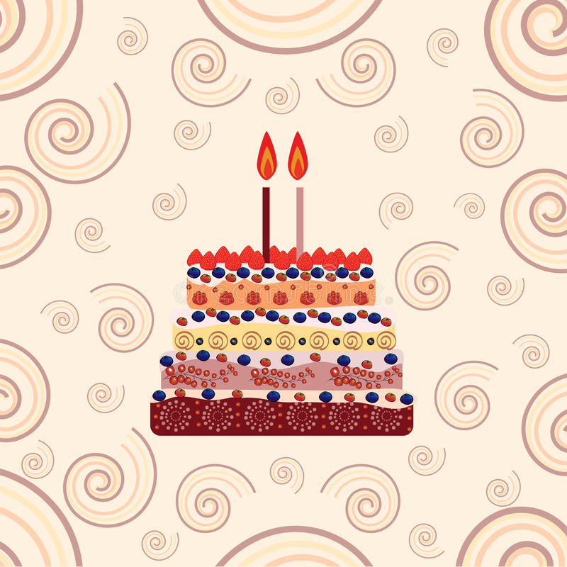 Birthday Cake With Two Candles Two Years Stock Vector