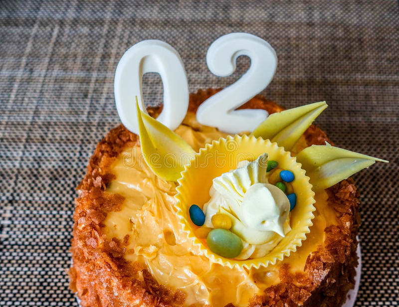Birthday cake. Of two month baby celebrate royalty free stock photo