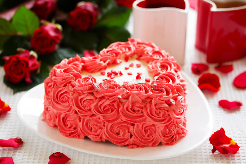 Birthday cake for Valentine's Day. With roses royalty free stock photography