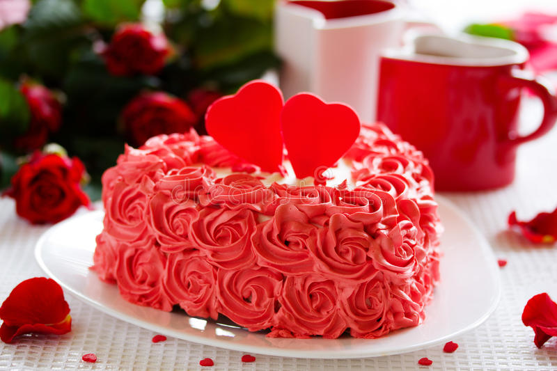 Birthday Cake For Valentines Day Stock Image Image of cake