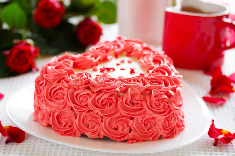 Birthday Cake For Valentines Day Stock Photo Image of spray rose
