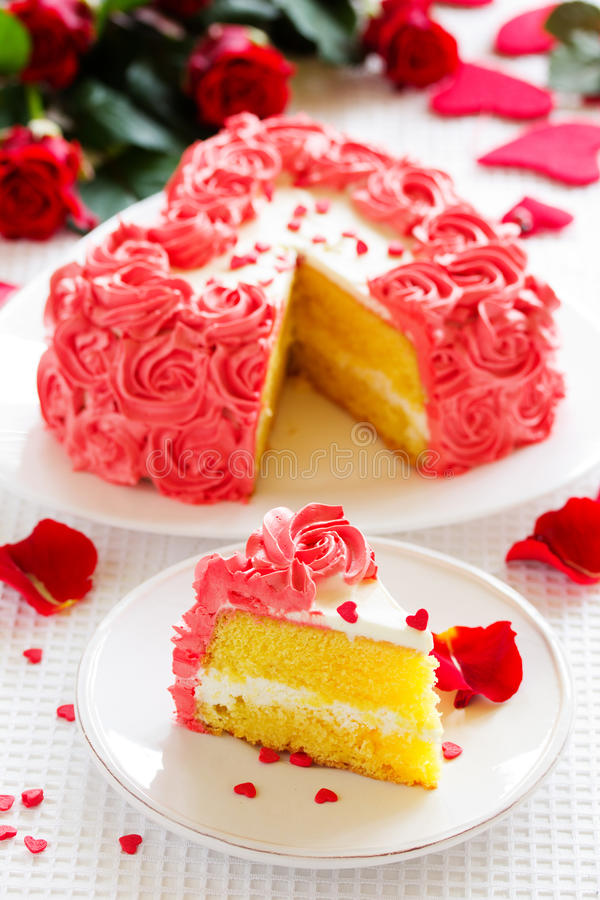 Birthday cake. For Valentine's Day with roses royalty free stock photography