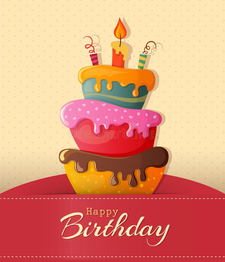 Birthday cake vector card with cake royalty free illustration
