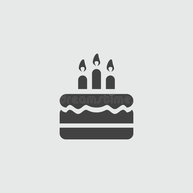 Birthday cake, vector sign illustration icon. Birthday cake, vector sign flat illustration icon stock illustration