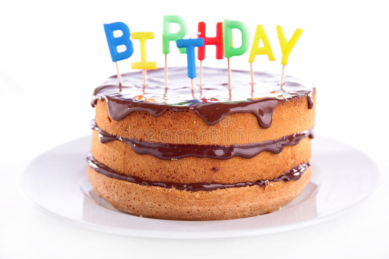 Birthday cake. On white background royalty free stock photos