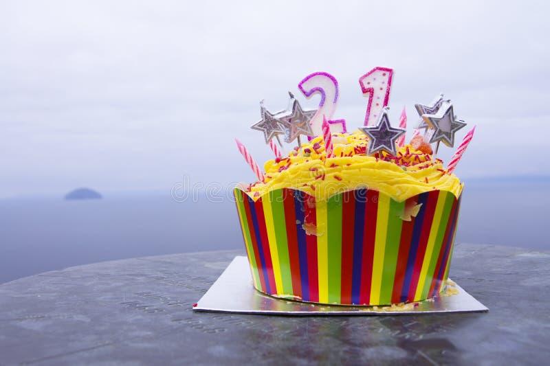 Birthday cake. 21 years birthday cake, taken with a nice view stock image