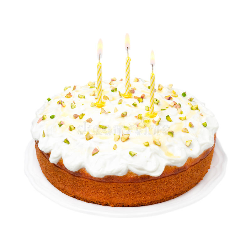 Birthday Cake With Yogurt Icing And Candles Isolated On White Stock Image