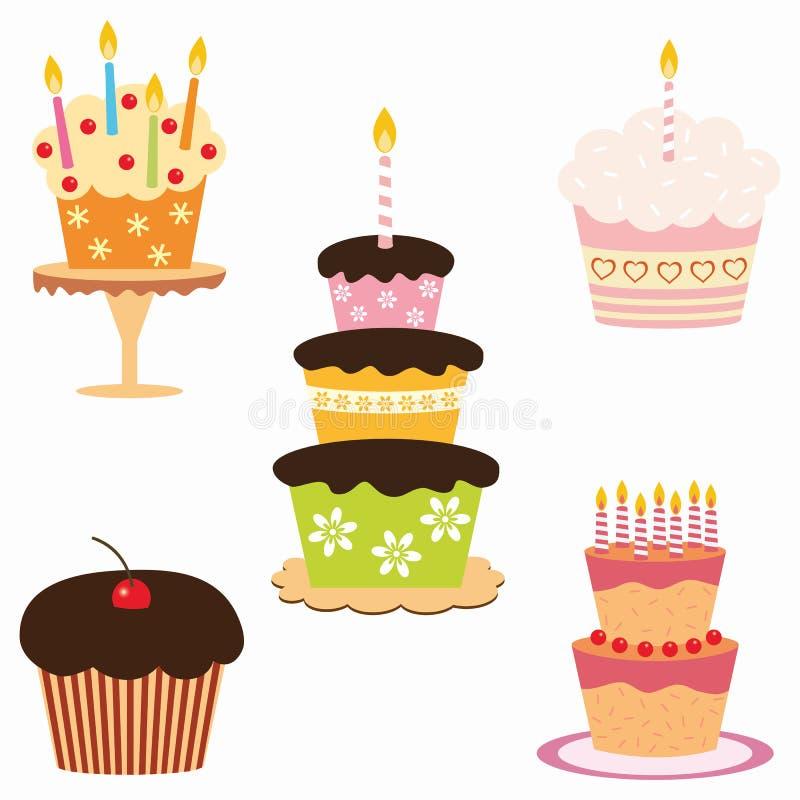 Birthday cakes vector illustration