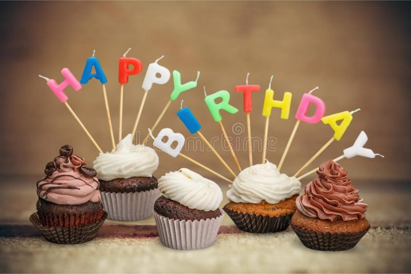 Birthday Cakes. Birthday Cupcake Candle Five Objects Celebration stock images