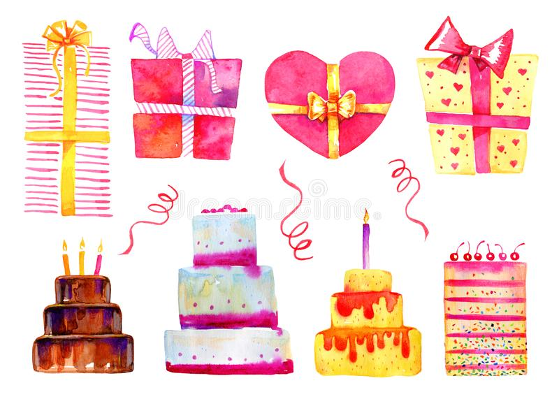 Birthday cakes and gift boxes set. Hand drawn cartoon watercolor sketch illustration stock illustration