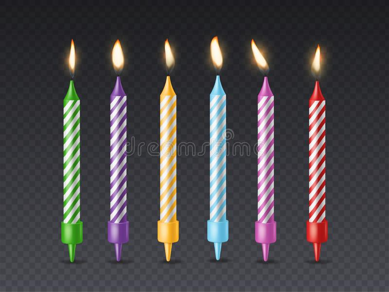 Birthday candle. Candlelight birthday party cake wax burning candle with flicker fire for holiday cakes isolated set stock illustration