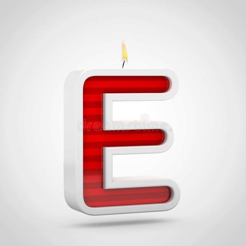 Birthday Candle Letter E Uppercase Isolated On White Background