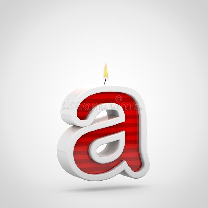 Birthday Candle Letter A Lowercase Isolated On White Background