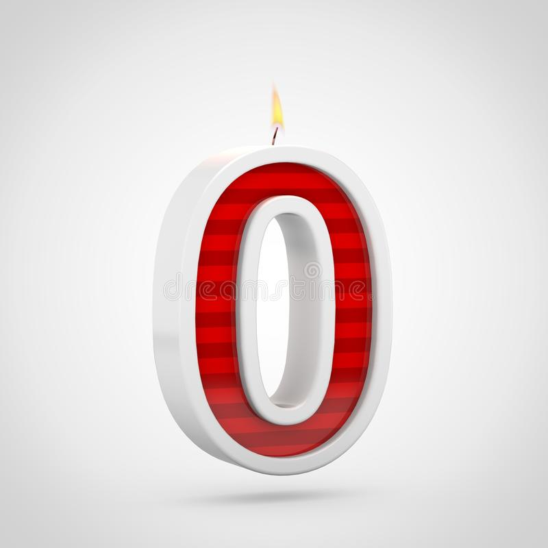 Birthday candle number 0 isolated on white background. royalty free illustration