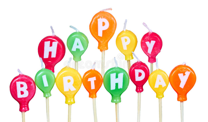 Birthday candles. Happy Birthday candles isolated on white background royalty free stock photos