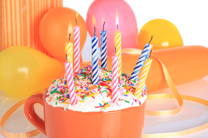 Birthday candles. Presents and balloons. Also available in vertical royalty free stock photos