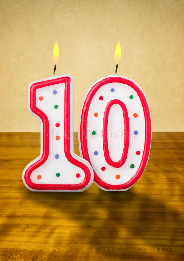 Birthday candles number 10 stock illustration