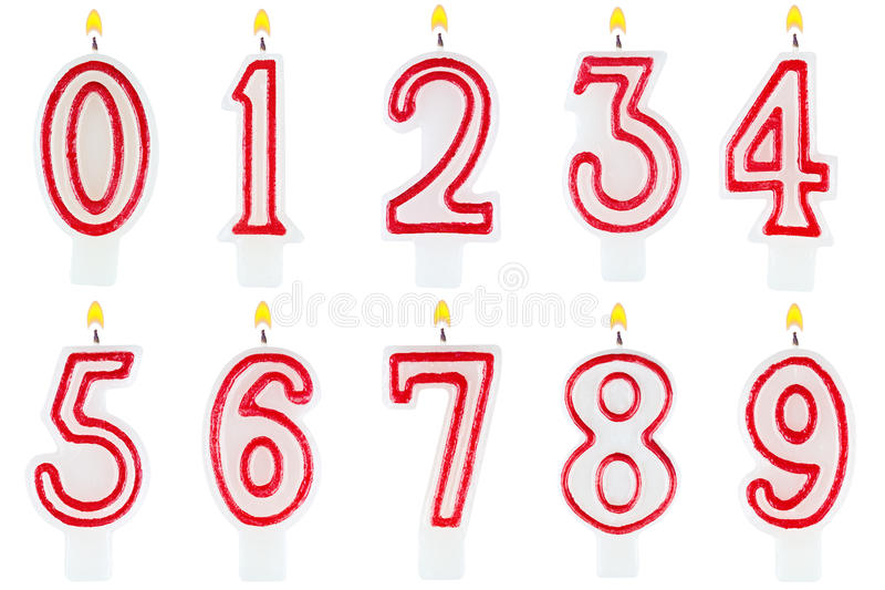 Birthday candles number set isolated vector illustration