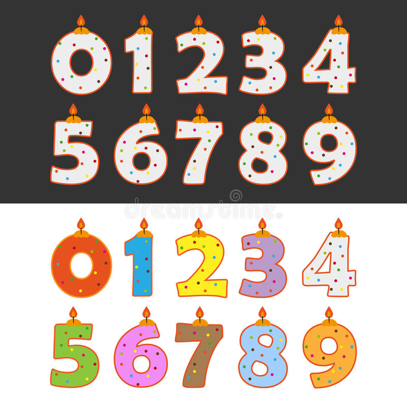 Birthday candles. Set of Birthday numbers candles cake in different colors. EPS file available stock illustration