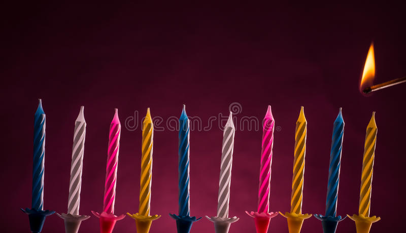 Birthday candles stock photos