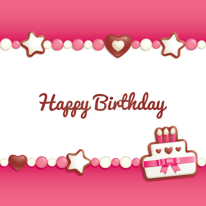 Birthday candy background. Birthday background with sweets making a frame for greeting text vector illustration