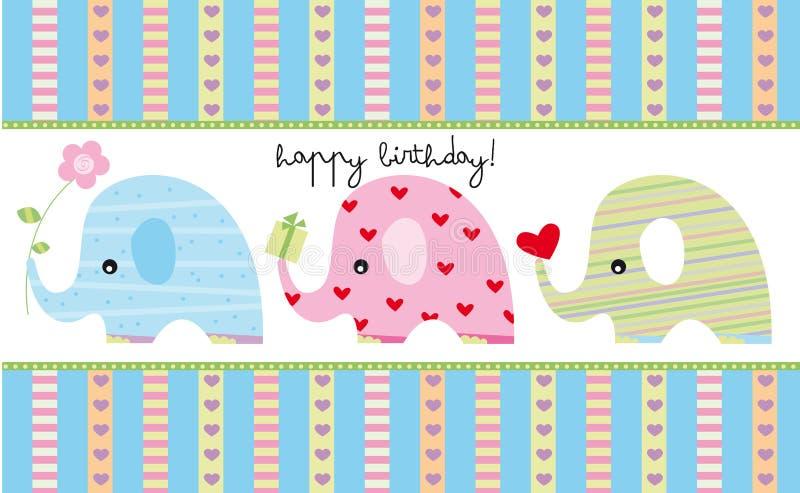Birthday card. Birthday greeting card with three cartoon elephants stock illustration