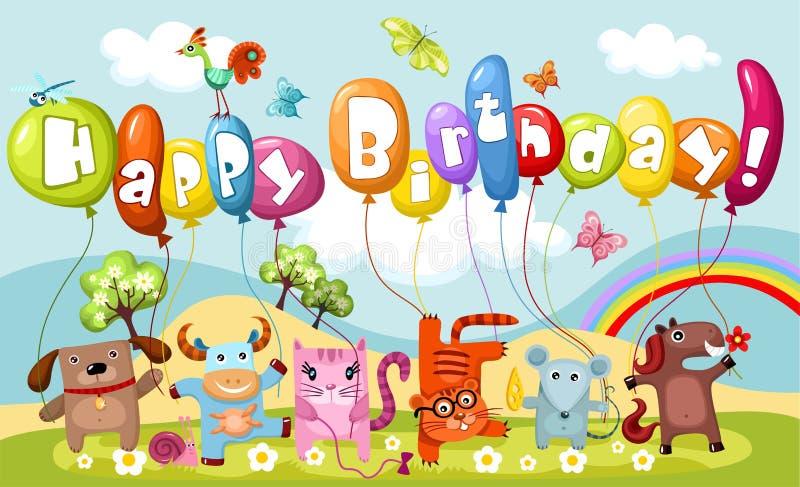 Birthday card. Vector illustration of a cute birthday card