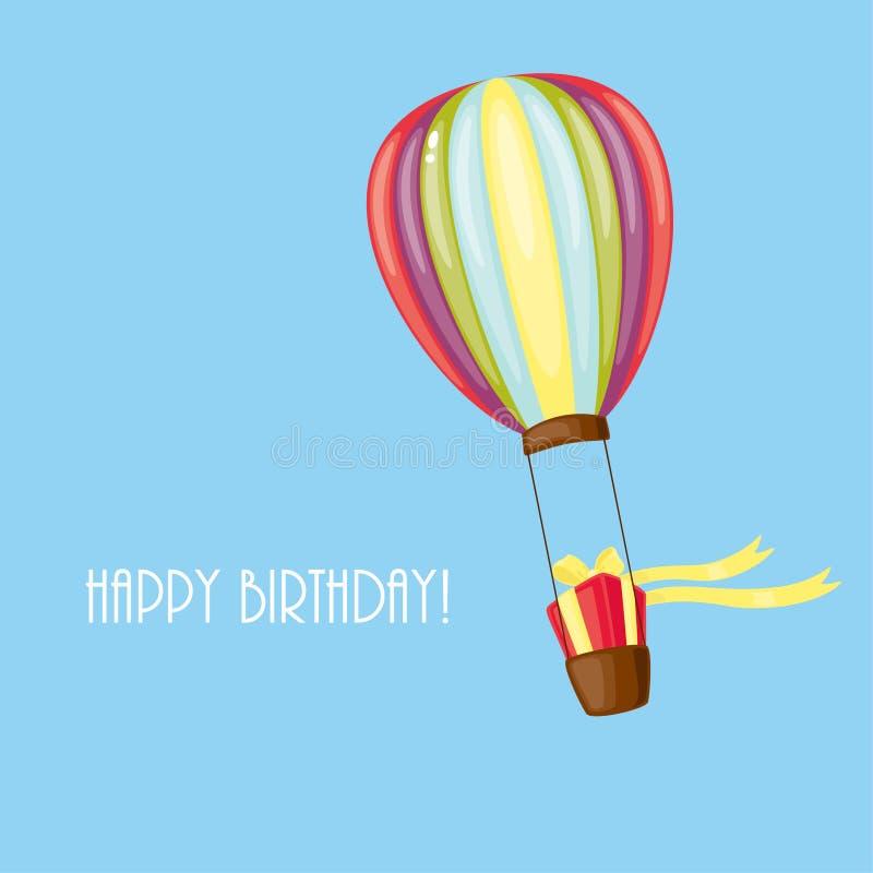 Birthday card. Blue birthday card with airship royalty free illustration