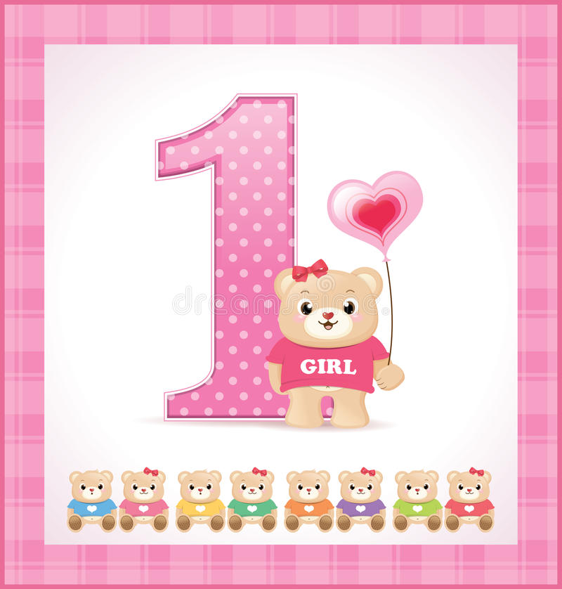 Download Birthday Card For Baby Girl Stock Vector - Image: 23848697