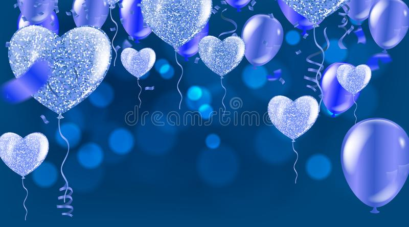 Birthday card with balloons and bunting flags. Vector Abstract G royalty free illustration